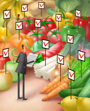 Man taking inventory of fruits and vegetables