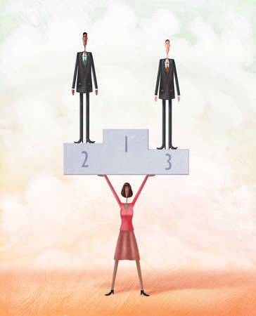 Black woman holding up two men standing on a podium