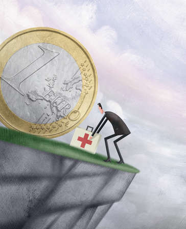 Man at the edge of a cliff treating the Euro with a first aid kit