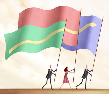 Three people carrying flags of different colors with one arrow traversing all of them