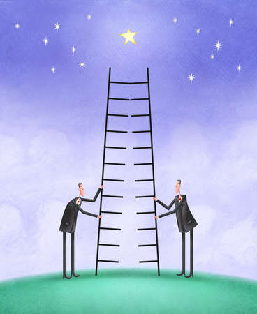 Two men positioning a split ladder under a star