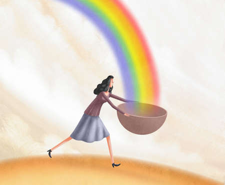 Woman running to catch a rainbow in her bowl