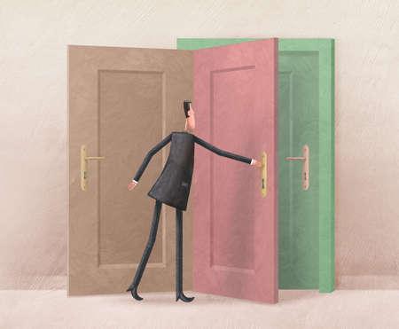 Man opening one of three doors