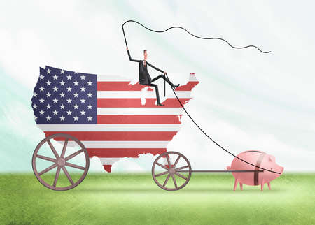Man with a whip riding a wagon in the shape of the U.S. Flag hitched to a pig