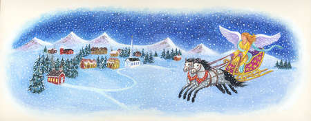 Angel coming to a town in a horse driven sleigh