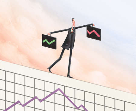 Man with two briefcases balancing atop a performance graph