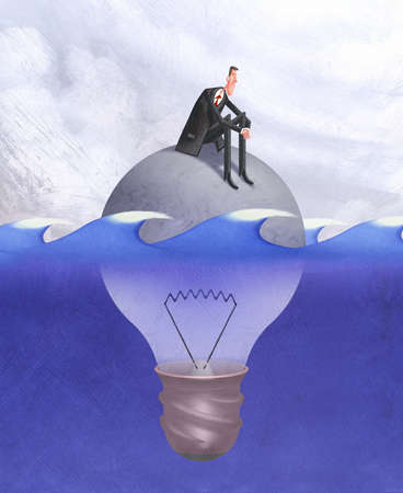 Sad man in ocean sitting on a submerged light bulb