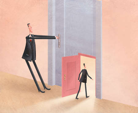 One man struggling to open a large door while another man walks through a smaller door