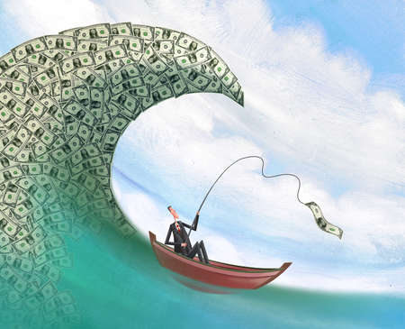 Man in boat about to be taken over by a tidal wave of money while fishing for one dollar
