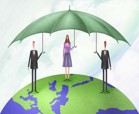 Two men and a woman standing on top of the world with a large umbrella covering them all