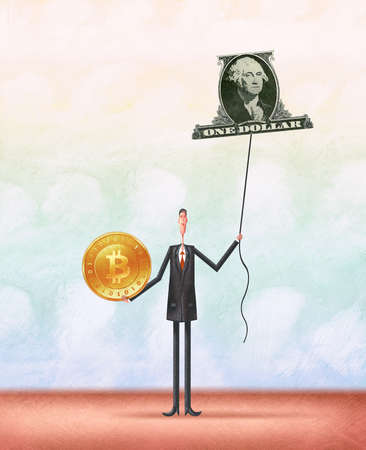 Man holding a bitcoin in one hand and a helium balloon in the shape of a dollar in the other hand