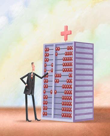 Man using a hospital as an abacus