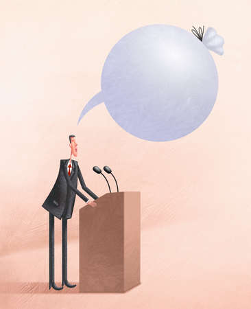 Man at podium giving speech with a blank speech bubble that is tied with string