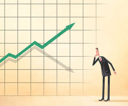 Businessman looking at a graph with an upward arrow casting a downward shadow