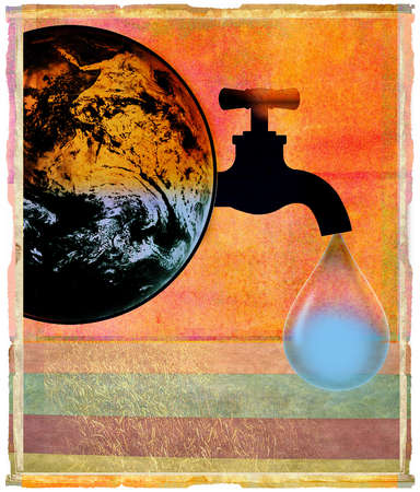 Earth being drained of water by a spigot.