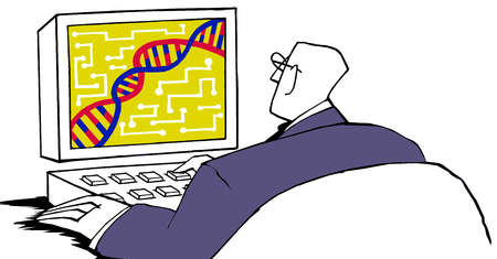Person looking at DNA stand on a computer screen