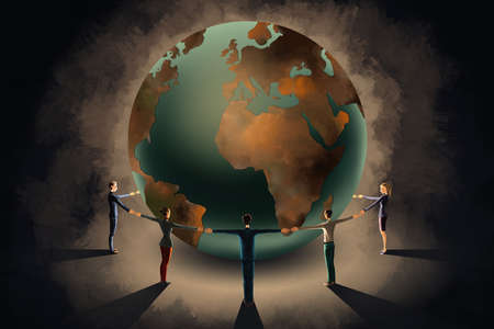 Business people holding hands while circling the globe representing teamwork