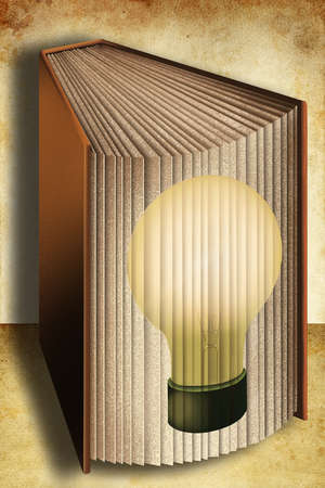 Book with light bulb representing ideas