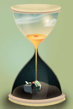 Businessman in hourglass representing workaholic