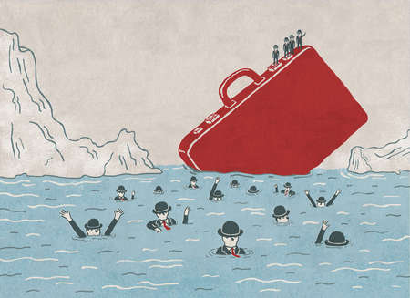 Business people drowning in sea and men on briefcase representing cost cutting and insurance