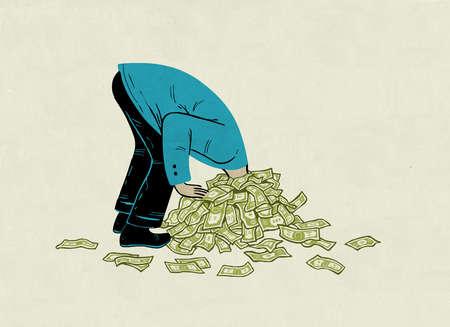 Businessman's head stuck in pile of money representing debt