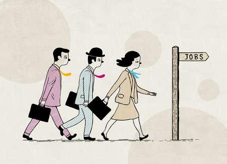 """Job applicants walking towards """"jobs"""" sign representing recruitment"""