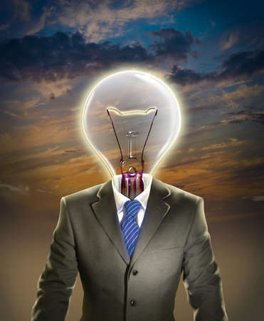 Businessman with light bulb representing leadership