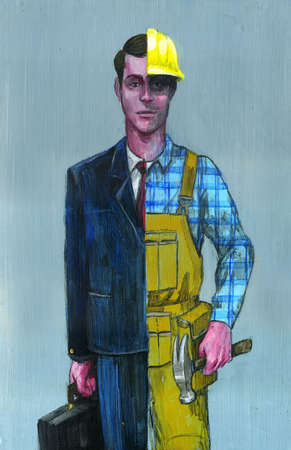 Man in suit and overalls representing changing careers