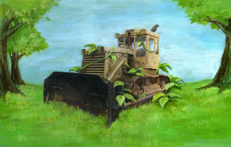 Construction machinery overgrown with greenery
