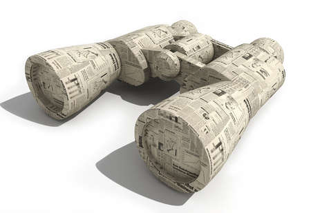 Close-up of binoculars wrapped in financial newspaper