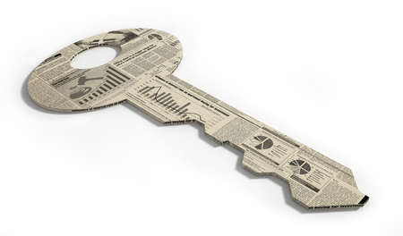 key wrapped in financial newspaper