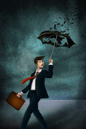 Young businessman with worn out umbrella in storm representing inadequate insurance