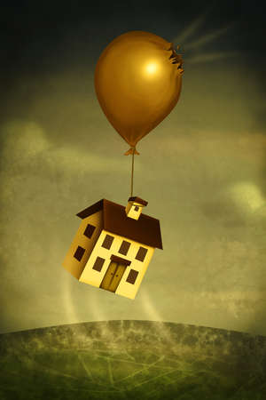 House floating away with damaged balloon representing crash in real estate