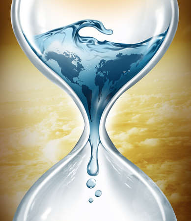Water in hourglass representing water depletion