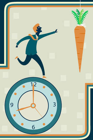 Businessman running on clock reaching for a carrot representing incentive