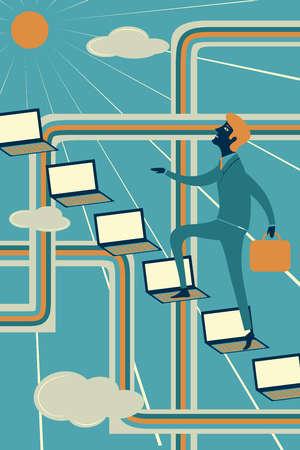 Businessman climbing laptops representing ladder of success