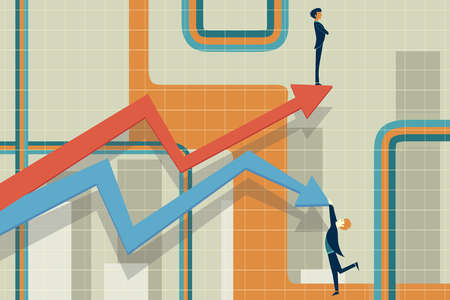 Businessmen and arrows representing rise and fall in stock market