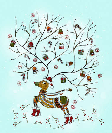 Reindeer with antlers holding bells, candles and winter wear.