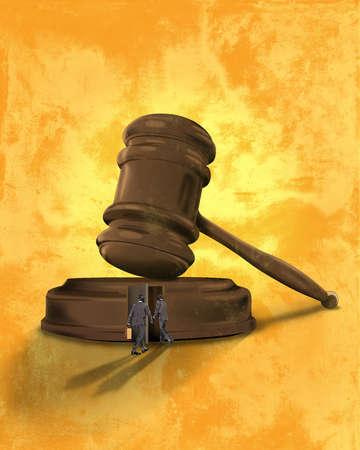 Men entering base of judge's gavel