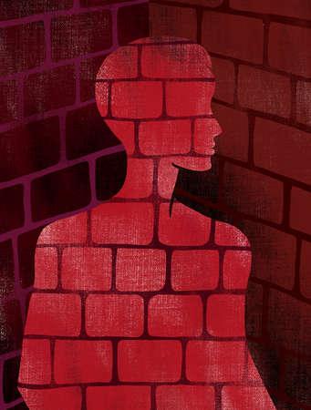 Man made of bricks representing bondage