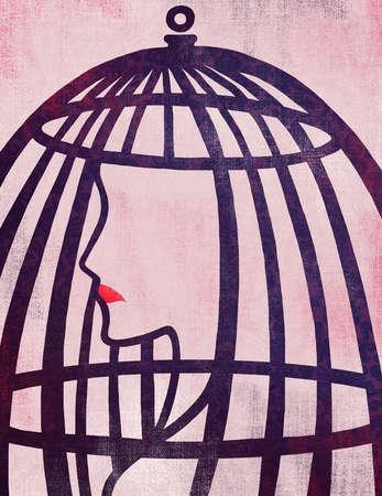 Woman in cage representing bondage