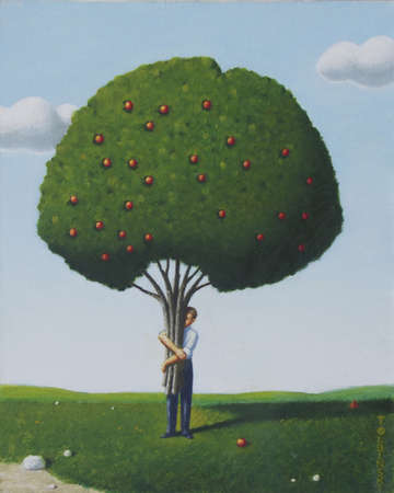 Man carrying apple tree