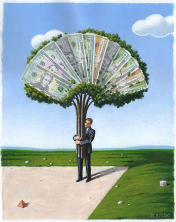 Man carrying tree made of various denominations of U.S. currency