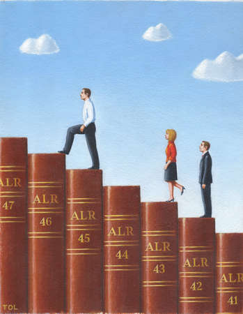 Two man and one woman walking across law books shaped like a staircase