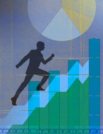 Man running up stairs amid financial performance data