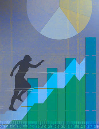 Woman running up stairs amid financial performance data