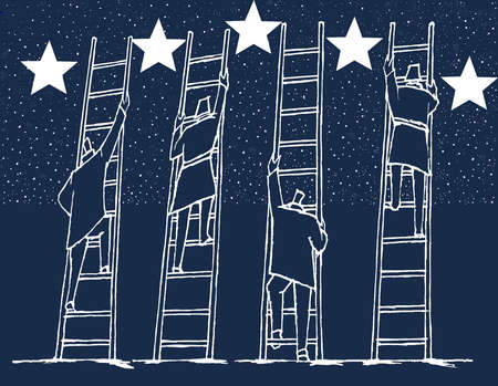 Businesspeople climbing ladders to reach the stars