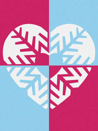 Heart made out of a snowflake
