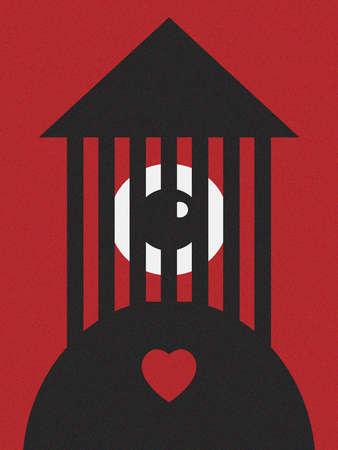 Eye behind bars atop a heart