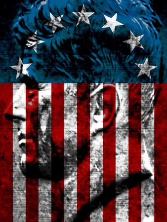 U.S. flag superimposed on profile of President John F. Kennedy